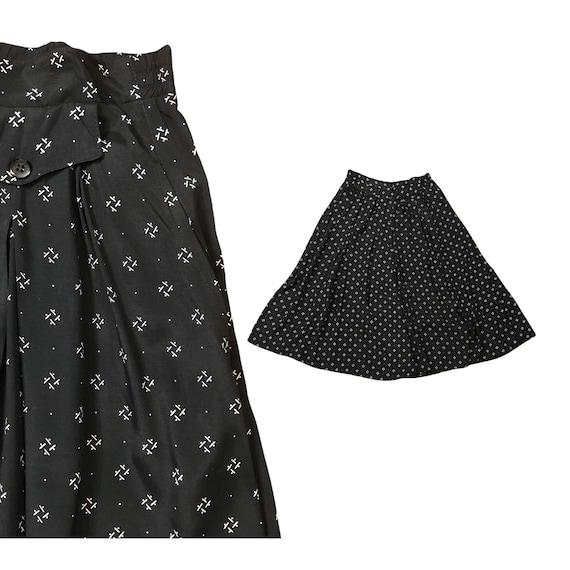 Vintage Skirt - 1980s Black Rayon Midi Wide A Lin… - image 1