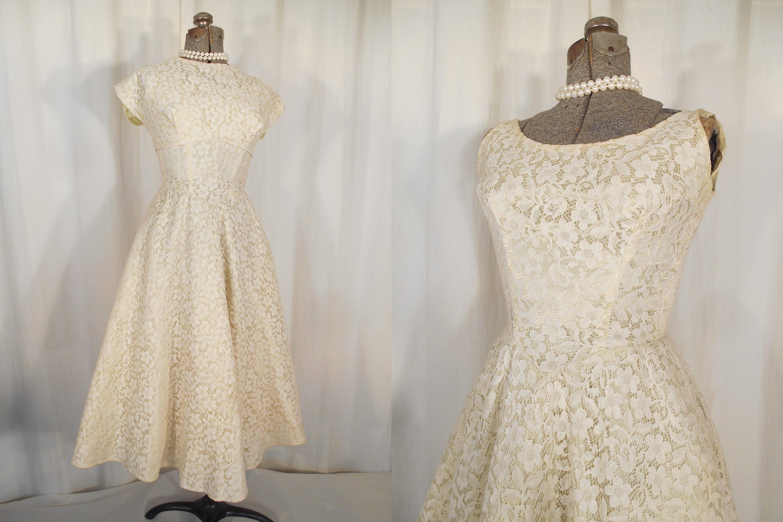Jahrgang 1950 Kleid Brautkleid 50er Jahre Chartreuse und