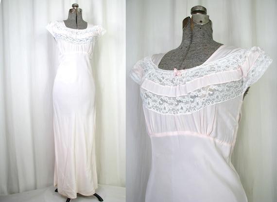 Vintage Nightgown, Large Bias Cut Lingerie, 1930s
