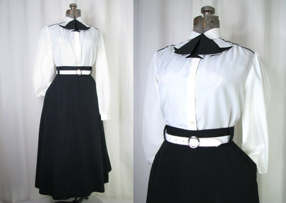 Vintage 1970s Blouse, Ruffle Bow Blouse, Long Puff