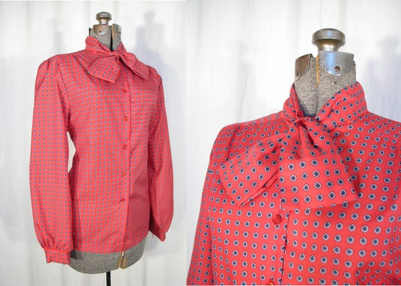 Vintage 1970s Blouse / Pussy Bow Blouse / Red Secr