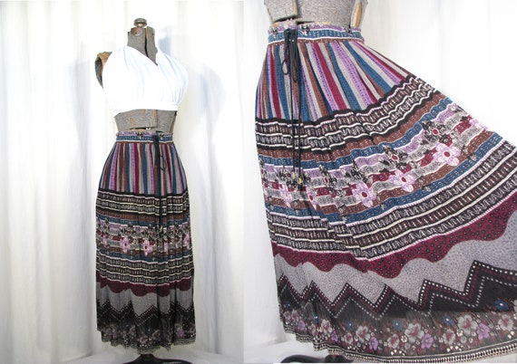 1980s Skirt - High Waist Midi, Vintage Indian Cott