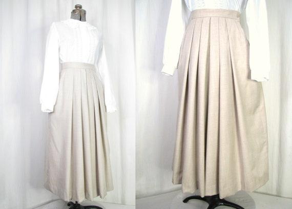 1980s Skirt, 1940s Style Pleated High Waist Skirt,