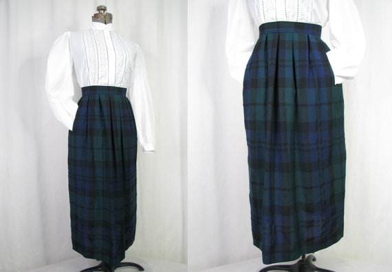 1980s Skirt, 40s Style Pleated Skirt, Blue Green P