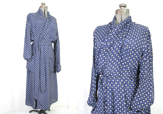 Vintage Robe / Mens Dressing Gown / 1940s Blue Smo