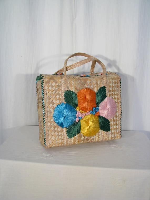 Basket Purse, Vintage Handbag, 1960s Lunch Box Sum