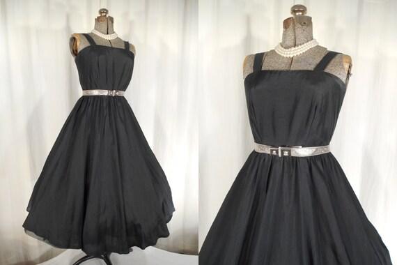 1950s Dress / Black Silk Summer Dress / Vintage Dr