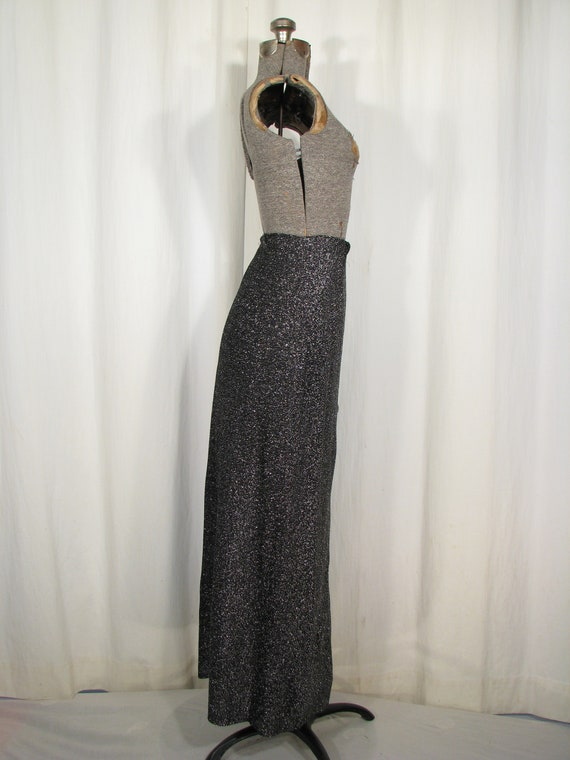 Vintage 1970s Skirt, High Waist Maxi, Silver Meta… - image 5
