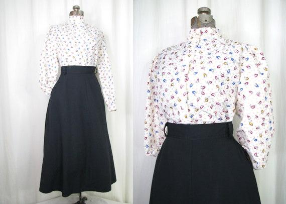 Vintage Blouse   1940s Style Blouse   1980s High C