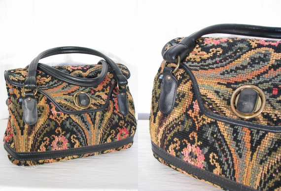 1970s Purse / Tapestry Doctors Bag / Vintage Boho