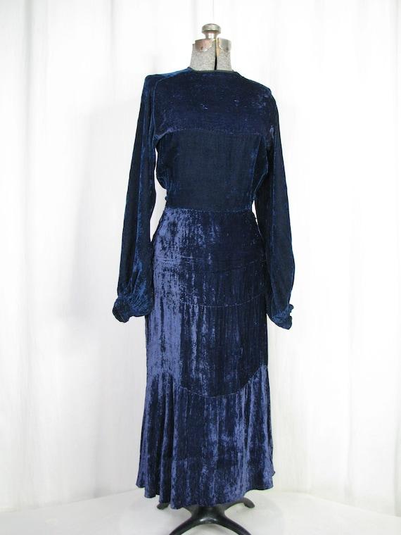 1930s Dress, 30s Blue Velvet Poet Sleeve Button B… - image 2