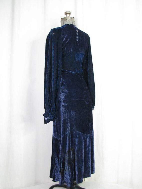 1930s Dress, 30s Blue Velvet Poet Sleeve Button B… - image 7