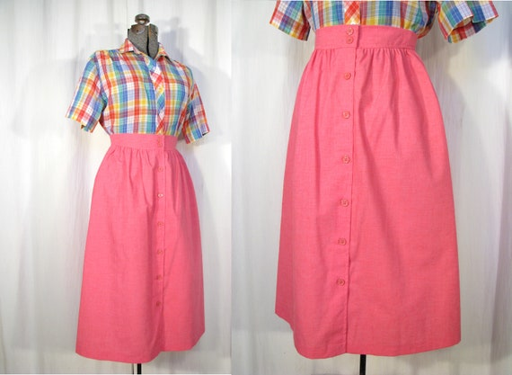 1980s Skirt/ 40s Style Pleated Button Front Skirt