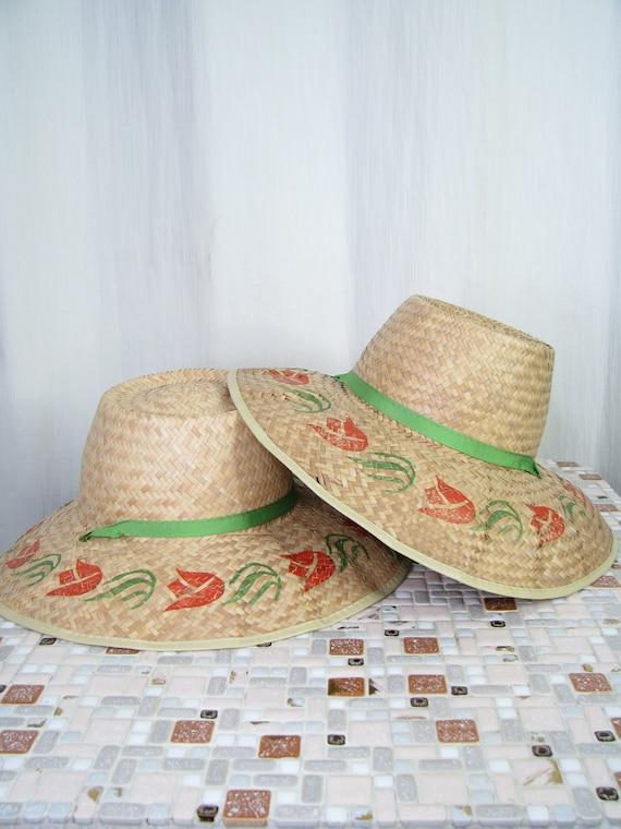 1940s Hat | Straw Wide Brim Sun Hat | 40s Vintage… - image 9