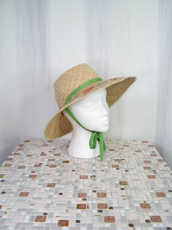 1940s Hat | Straw Wide Brim Sun Hat | 40s Vintage… - image 10