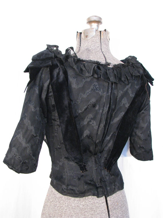 1890s Blouse - Victorian Edwardian Blouse, Black … - image 5