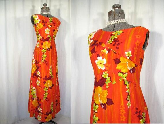 1960s Dress/ Vintage Hawaiian Maxi/ 60s Red Orange