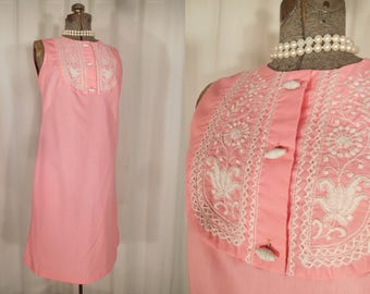 Vintage 1960s Dress - 60s Mexican Peasant Dress, Pink Smock Mini Dress