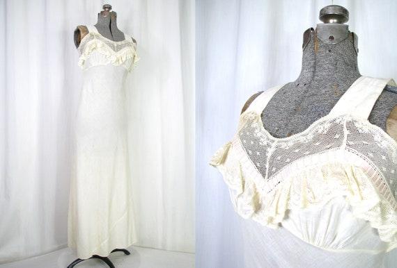 Vintage Nightgown, Bias Cut Cotton Victorian Chem… - image 1