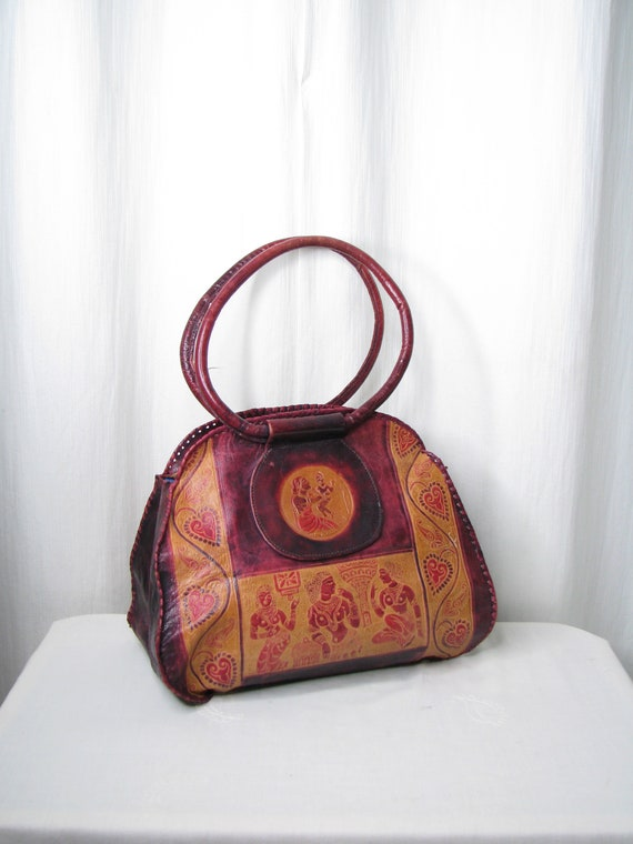 Vintage Purse, Boho Leather Shoulder Bag, 1970s In