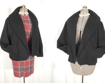 Vintage 1950s Coat / 50s Black Chenille Coat XL / Plus Size Coat / 60s Jackie O Style High Waist Coat / Large Wool Crop Coat