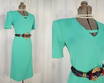 Vintage 1970s Dress - Knit Sweater Dress, 70s Green Boho Midi Dress