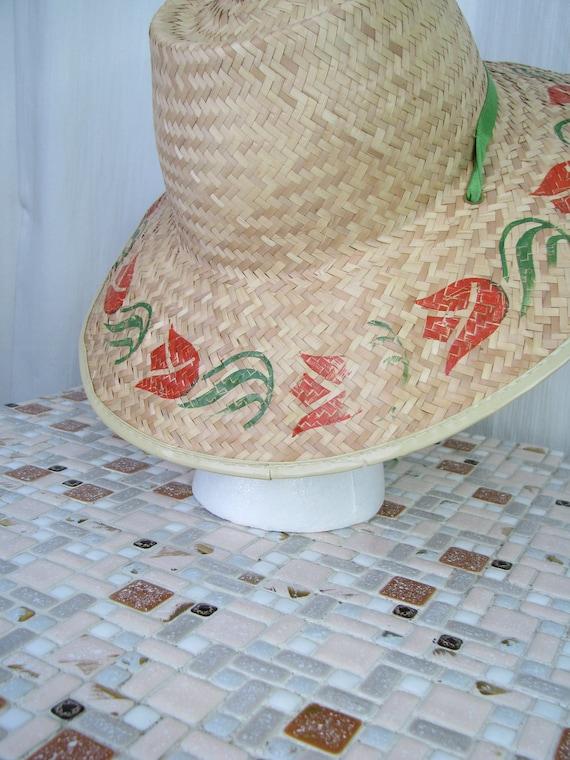 1940s Hat | Straw Wide Brim Sun Hat | 40s Vintage… - image 4