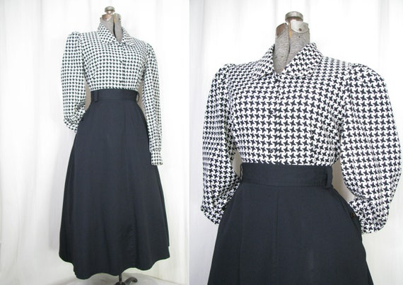 Vintage 1970s Blouse, 40s Style High Collar Puff S