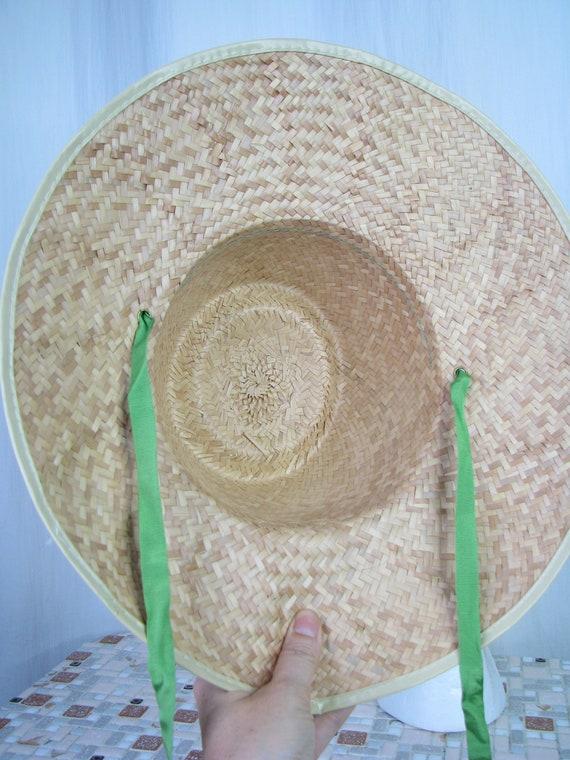 1940s Hat | Straw Wide Brim Sun Hat | 40s Vintage… - image 6