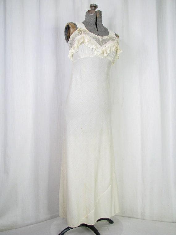 Vintage Nightgown, Bias Cut Cotton Victorian Chem… - image 2