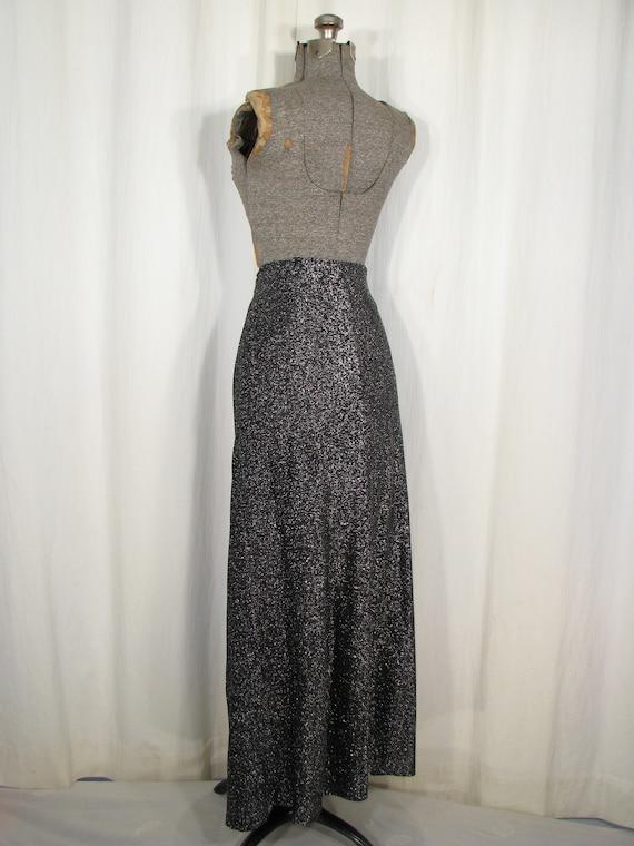 Vintage 1970s Skirt, High Waist Maxi, Silver Meta… - image 7