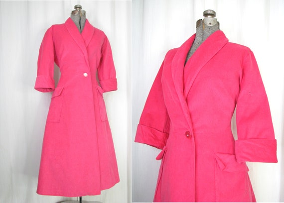 Vintage 1950s Dress, Fuchsia Pink Wrap Midi, 50s C