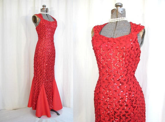 Size 8 Medium Dazzling Red Glitter Gown by Ronni Nicole 90/'s Red Pin Up Dress Vintage 80/'s Red Bombshell Dress 1990/'s  Black Tie Gown