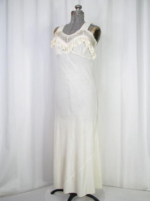 Vintage Nightgown, Bias Cut Cotton Victorian Chem… - image 4