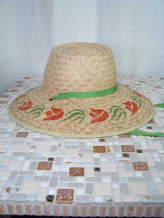 1940s Hat | Straw Wide Brim Sun Hat | 40s Vintage… - image 7