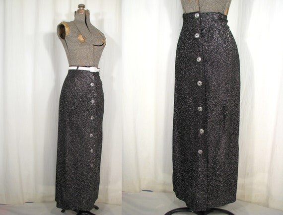 Vintage 1970s Skirt, High Waist Maxi, Silver Meta… - image 1