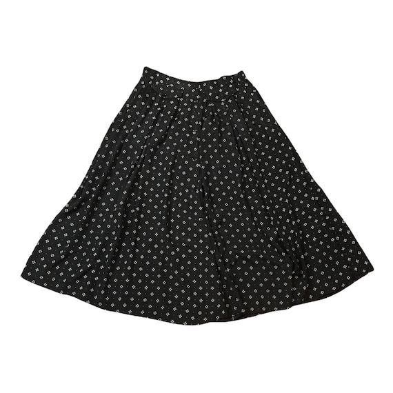 Vintage Skirt - 1980s Black Rayon Midi Wide A Lin… - image 2