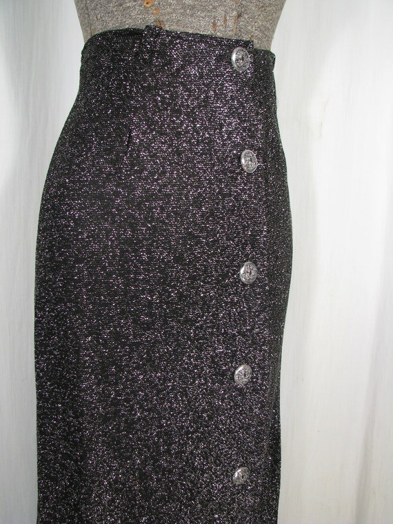 Vintage 1970s Skirt, High Waist Maxi, Silver Meta… - image 3