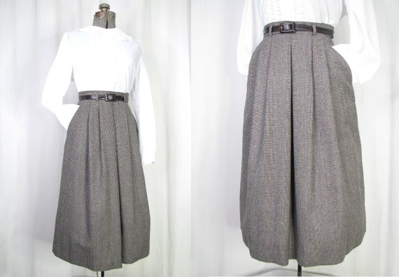 1980s Skirt // 40s Style Pleated High Waist Wool M