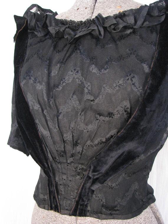 1890s Blouse - Victorian Edwardian Blouse, Black … - image 2