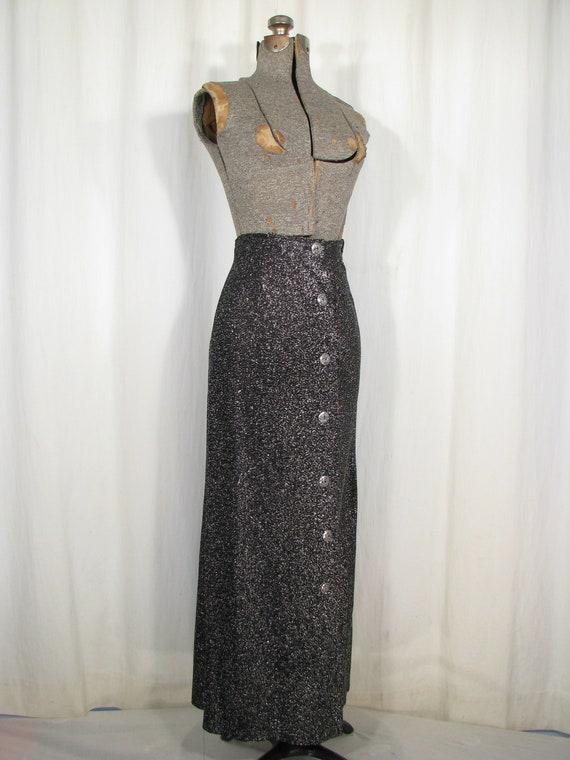 Vintage 1970s Skirt, High Waist Maxi, Silver Meta… - image 10