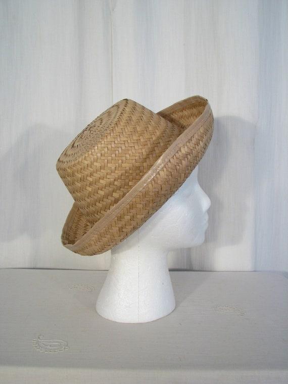 1940s Hat   Straw Fedora Sun Hat   Vintage Summer