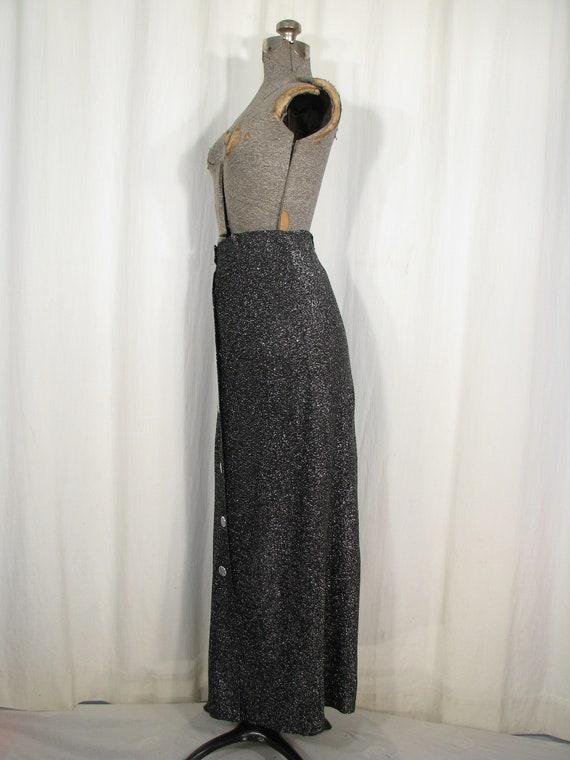 Vintage 1970s Skirt, High Waist Maxi, Silver Meta… - image 8