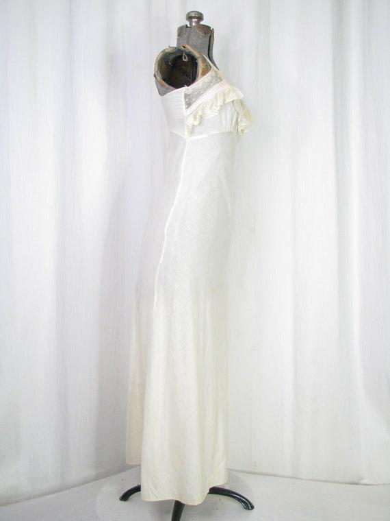 Vintage Nightgown, Bias Cut Cotton Victorian Chem… - image 5