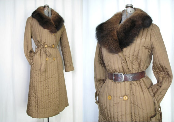 Vintage Trench Coat, 1970s Puffer Coat, Quilted Br