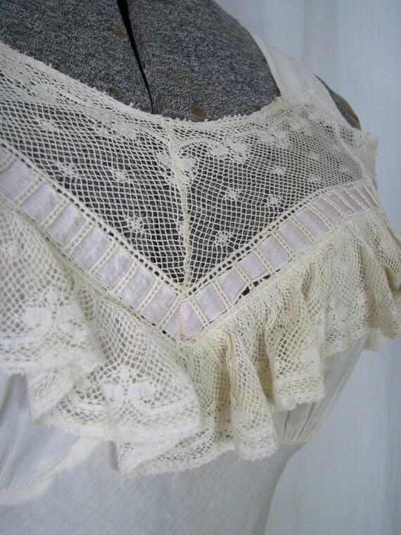 Vintage Nightgown, Bias Cut Cotton Victorian Chem… - image 3