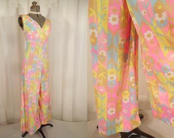 Vintage 60s Jumpsuit - 60s Playsuit Romper Small Pink Blue Beach Pajamas