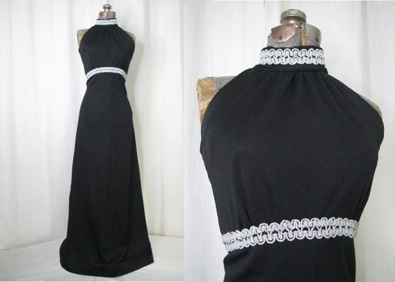 Vintage Maxi Dress, 1960s Gothic Witchy 60s Empire