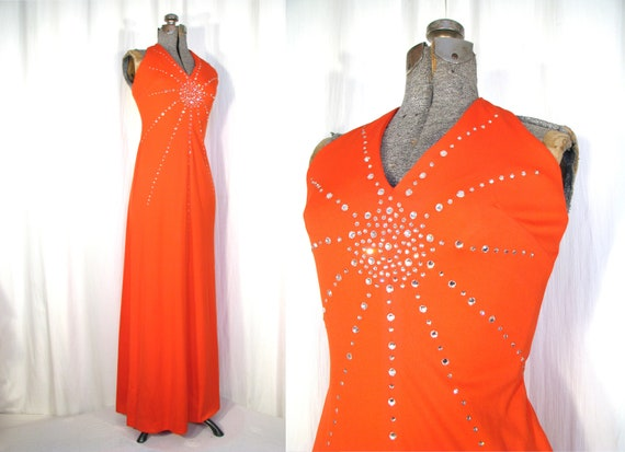 Vintage 1970s Dress / 70s Dress / Maxi Dress / Hal