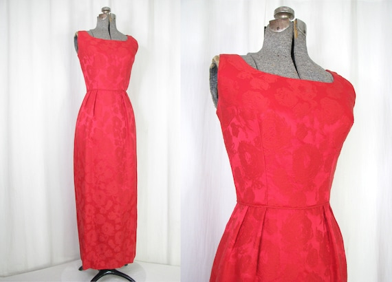 1950s Dress, Vintage Evening Gown, Small Holiday R